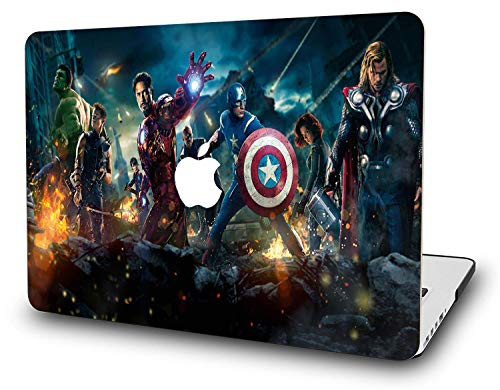 MacBook Air 13 Inch Case – L2W Laptop Accessories Hard Plastic Printed Cover for Apple Mac Air 13.3″ with Two USB 3 Ports, No Touch ID, Model: A1466/A1369, Protection Shell of Design Avengers (B)