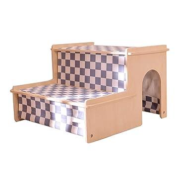 QZ Taburete De Peluche para Perros Gato para Sofá De Cama, Escalera De Peluquería De Madera De 2 Pasos para Sala De Estar del Dormitorio: Amazon.es: ...