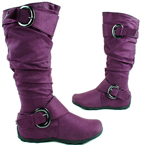 Anna Womens BD-1530 Mid Calf Height Suede Boots with Buckles and Zipper Closure Purple
