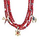 American West Five-Strand Red Coral Necklace with Multi Gemstone Brass Charms
