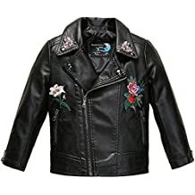 Budermmy Girls Embroidered floral Faux Leather Motorcycle Moto Biker Jackets