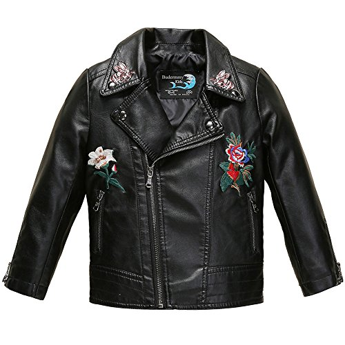 Budermmy Girls Embroidered Floral Faux Leather Motorcycle Moto Biker Jackets Black Size 3T -