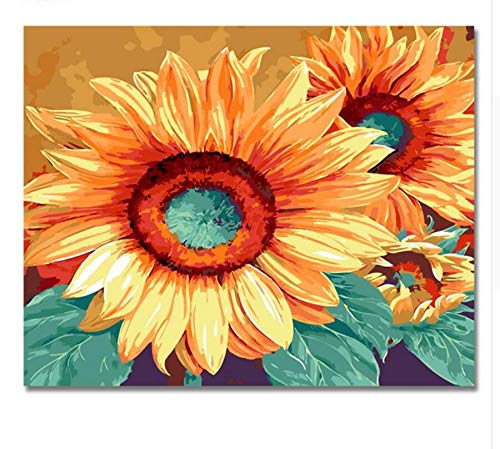 (QIANDONG1 DIY Big Flower Painting by Numbers Modern Digital Flower Wall Art Picture for Home Decor Artwork 2017 New Poster)