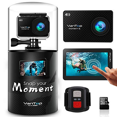 VanTop Moment 4 4K Sports Action Camera w/Touch Screen EIS 20MP Sony Sensor, Adjustable View Angle, 30M Waterproof, Remote, 32GB TF Card, Dual Battery & GoPro Compatible Accessories Kit