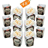 """Mini Zombie Head Popcorn Boxes BULK 48 Pack - Halloween Zombie Themed Birthday Party Favors Supplies for Kids Event Decoration - 3"""" x 3"""" x 4"""" By 4E"""
