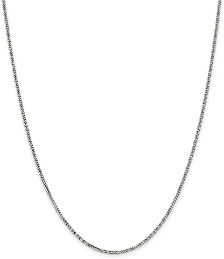 with Secure Lobster Lock Clasp Solid 925 Sterling Silver 1.75mm Curb Cuban Chain Necklace