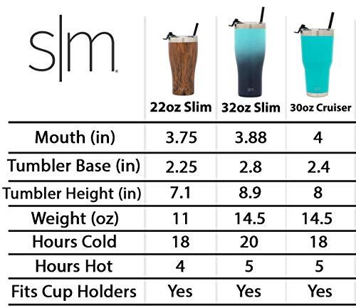 Simple Modern Personalized Gift Tumbler Custom, Cruiser (Slim) 32oz, Ombre: Razzle Dazzle