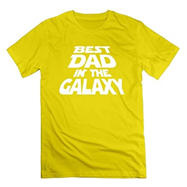 6d3e792df Amazon.com: TangChuan Men's Best Dad in The Galaxy Funny Yellow T-Shirt:  Clothing
