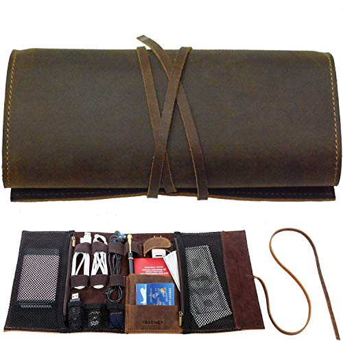 Genuine Crazy Horse Leather Electronics Organizer Roll Bag Travel Pouch for USB...