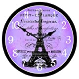 Paris Love Wall Clock, Available in 8 sizes, Most Sizes Ship 2 - 3 days, Whisper Quiet.