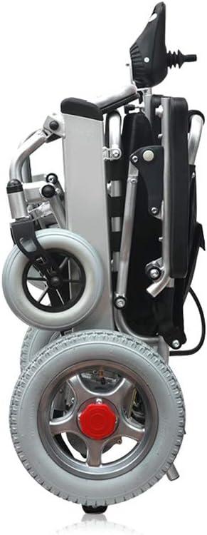 Silla de Ruedas eléctrica Plegable, Marco de aleación de Aluminio audaz,Neumático sólido a Prueba de explosiones (Rueda Trasera),Sistema de suspensión de la Rueda Delantera,frenado automático,