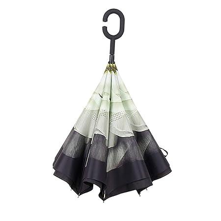 T-M Doble Capa invertido Paraguas a Prueba de Viento ...