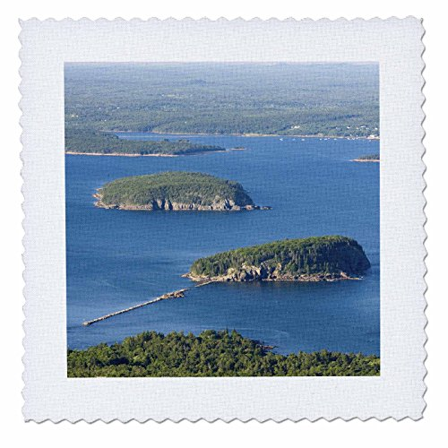 3dRose qs_90669_2 Frenchman Bay from Cadillac Mountain, Maine - US20 JMO0704 - Jerry and Marcy Monkman - Quilt Square, 6 by - Square Green Bay Bay Park