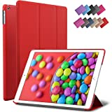 iPad Air Case, ROARTZ Red Slim Fit Smart Rubber Coated Folio Case Hard Shell Cover Light-Weight Auto Wake/Sleep For Apple iPad Air 1st generation Model A1474/A1475/A1476 Retina Display