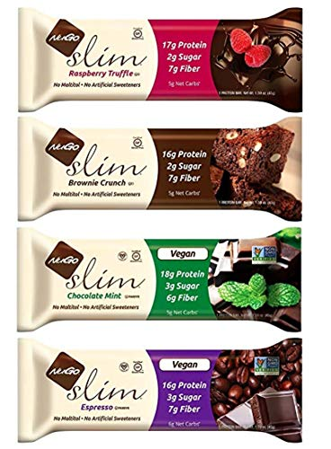 NuGo Slim, Protein Bar, Variety Sampler 4 Flavors Pack, (12 Bars Total) - 1.59 Ounce