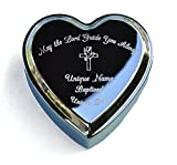 Engraved Heart Shaped Jewelry Box and Engraved Heart Compass Locket (Baptism Gift for Baby Girl)