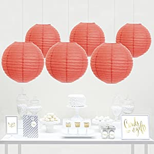 Andaz Press Hanging Paper Lantern Party Decor Kit with Gold Party Sign, Coral, 6-Pack