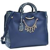 Dasein Designer Women's Signature Top Zip Ring Tote Shoulder Bag Satchel Purse w/Snake Embossed Trim Fit 15''Laptop Blue