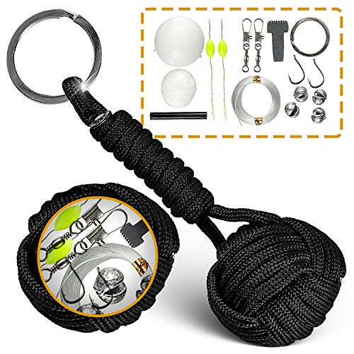 Paracord Keychain W/Fishing Set - Tactical Lanyard W/Ferro Rod, Flint Scraper & Cotton - Military Grade Parachute Cord Lanyards with Key Ring for Men - Durable Survival Gear - Present for Father (Monkey Fist Knot Keychain)
