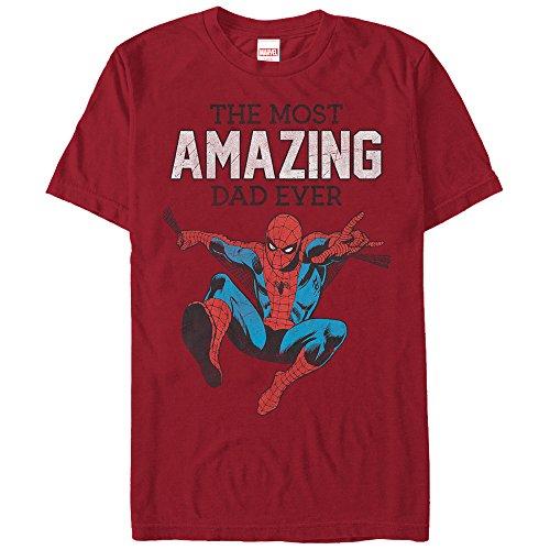 Marvel Men's Spider-Man Amazing Dad Cardinal T-Shirt ()