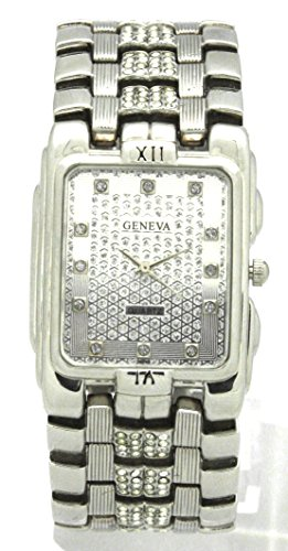 Geneva Unisex Close Band Bling Crystal Watch Band Silver Watch Ice out Crystal Design on White Dial Japan Quartz Movement Stainless Steel Back Casual Roman Numeral on Six and Twelve