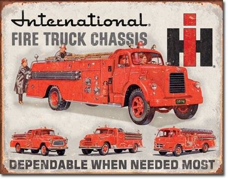 Poster Discount International Fire Truck Chassis Tin Sign 12.5