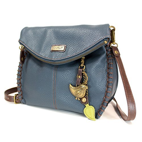 Chala Charming Crossbody Bag - Flap Top and Metal Key Charm in Navy Blue, Cross-Body or Shoulder Purse - Bird