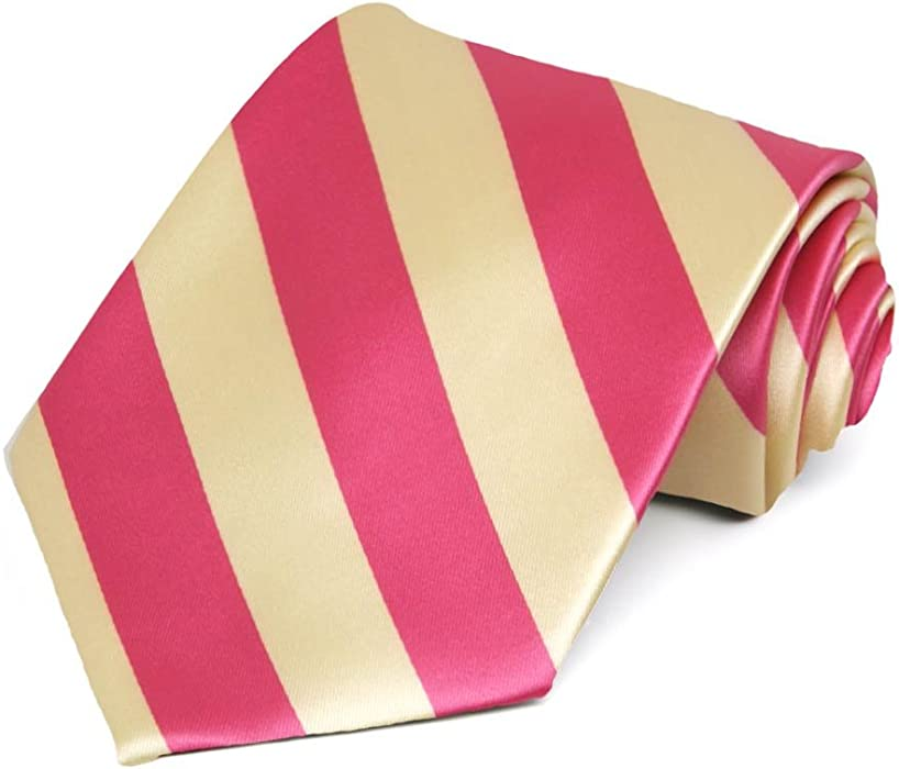 2a33cf618db5 Coral Pink and Light Yellow Striped Tie at Amazon Men's Clothing store: