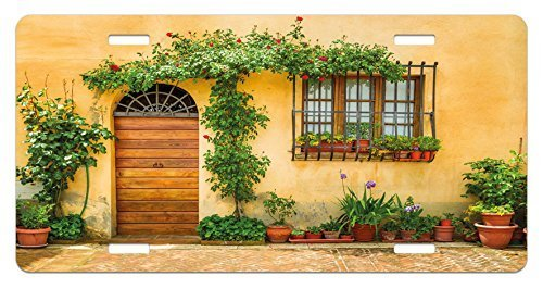 zaeshe3536658 Italy License Plate, Porch with Different Flowers Pots Fresh Green Plants City Life in Tuscany, High Gloss Aluminum Novelty Plate, 6 X 12 Inches, Apricot Green Brown by zaeshe3536658