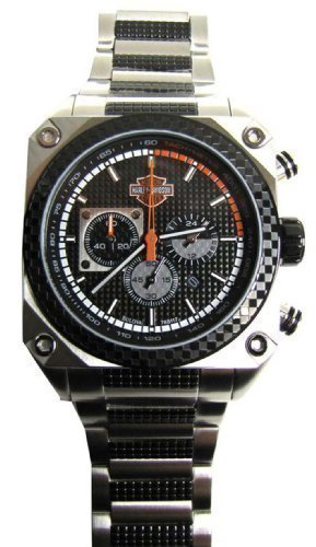 Bulova Chronograph Black Dial Watch (Harley-Davidson Men's Bulova Chronograph Wrist Watch. Embossed Dial. Luminious. Fold-Over Safety Buckle. WR 50m/165ft. 78B117)
