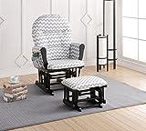 Nursery Furniture Naomi Home Brisbane Glider & Ottoman Set Black/Gray Chevron