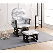 Naomi Home Brisbane Glider & Ottoman Set with Cushion in Gray Chevron and Finish in Black