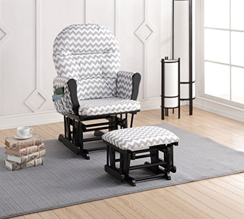 Naomi Home Brisbane Glider & Ottoman Set Black/Gray Chevron - Fisher Price Glider