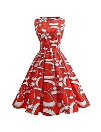 iBaste Womens Christmas Printed Retro Sleeveless Party Swing Dress