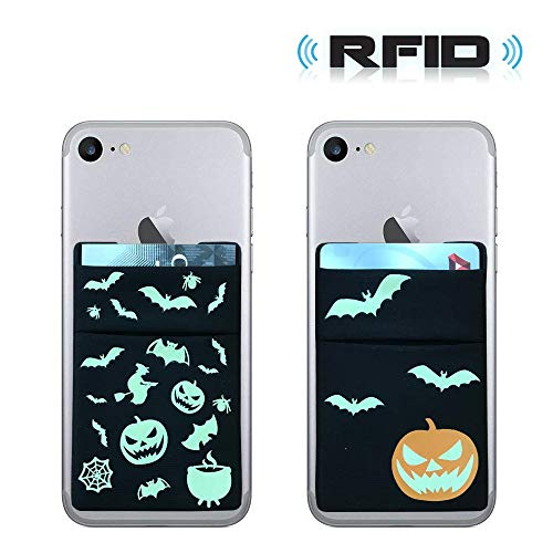 [2pc] RFID Blocking Phone Card Wallet - Party Glow in The Dark Supplies Double Secure Pocket Ultra-Slim Self Adhesive Credit Card Holder Card Sleeves Phone Wallet Sticker for All -