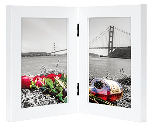 Double Click Photo (Frametory, 5x7 Inch Hinged Picture Frame with Glass Front - Made to Display Two 5x7 Inch Pictures, Stands Vertically on Desktop or Table Top (Double, White))
