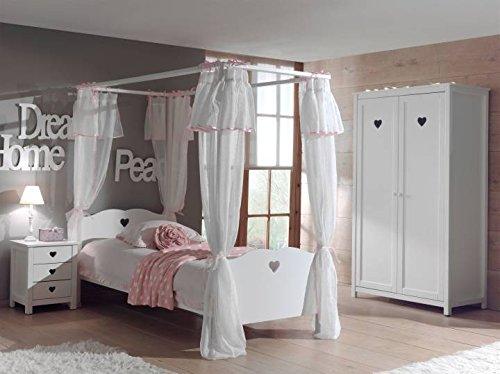 Vipack Kinderzimmer-Set Amori, 4-teilig, bestehend aus Himmelbett 90 x 200 cm, Textilvorhang, Nachtkonsole und Kleiderschrank 2-türig, weiß