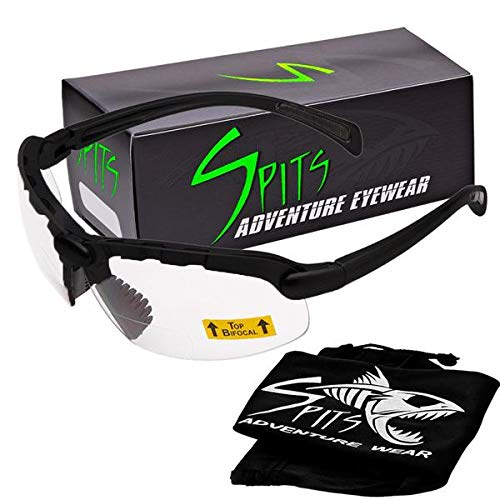 Spits Eyewear Hunting Top Focal Bottom Bifocal Shooting Safety Glasses, Black Frame, Various Lens Options (Yellow Lenses, 1.75 Top ()