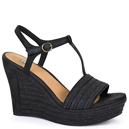 UGG donna sandali con la zeppa 1006844 W / BLK W FITCHIE nero 38 Nero