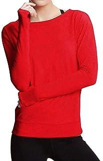 JERFER Tops Chemisier à Manches Longues pour Femmes T-Shirt de Couleur Unie Extensible Sport Gym