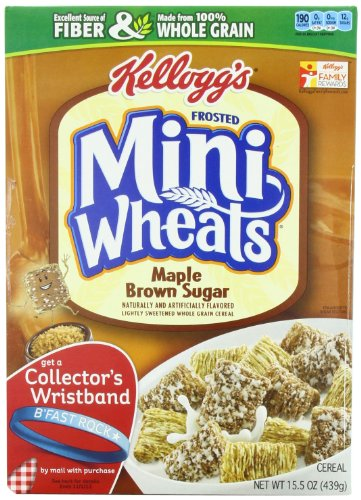 Kellogg's Frosted Mini Wheats Bite Size Maple Brown Sugar 15.5-ounce (Pack of 4) (Grain 4 Maple)