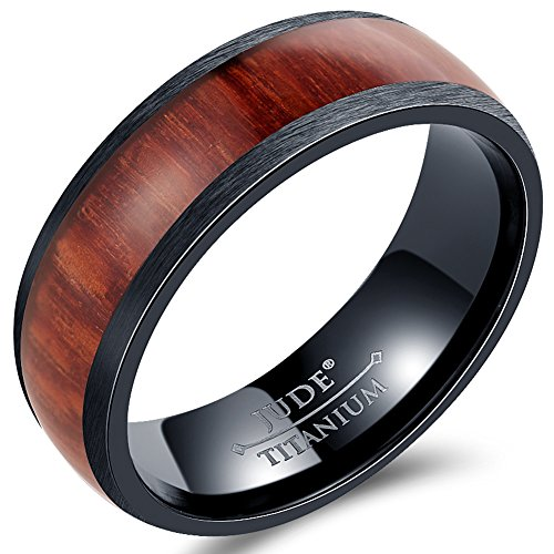 Jude Jewelers 8mm Black Titanium Wood Domed Band Style Ring Wedding Anniversary Statement Promise (10) by Jude Jewelers