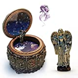 HANYI Vintage Mechanical Classical Collectible Translucidus Music Box with Twelve constellations, Plays Castle in the Sky - Aries