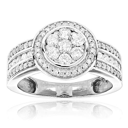 CGJ 1.1 ct CZ Pre-Set Diamond Rounds Halo Engagement Ring in 14k White Gold Finish