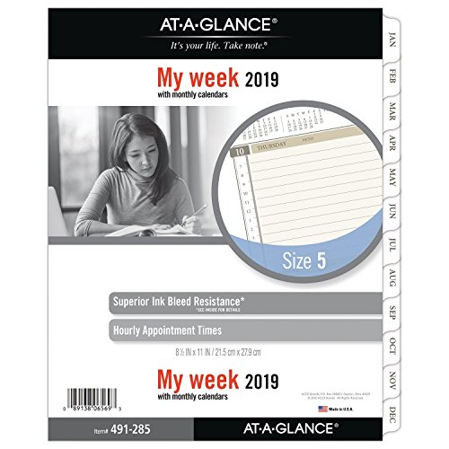 AT-A-GLANCE 2019 Weekly Planner Refill, Day Runner, 8-1/2 x 11, Folio Size 5, Two Pages Per Week, Loose Leaf (491-285)