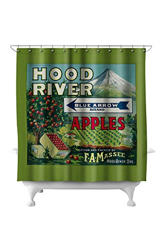 Blue Arrow Apple Crate Label (71x74 Polyester Shower Curtain)