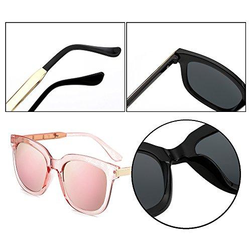 Marco de para gradiente Gafas con de ovaladas hombre Gafas sol de retro UV400 para Dintang y Rosa Gafas Lente sol mujer Rosa protección sol Zq1pwOxn