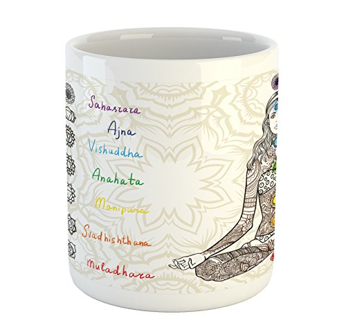 - Ambesonne Chakra Mug, Sketch Image of Yoga Posed Girl in Peace with Spots Ancient Design Relaxation Ritual, Printed Ceramic Coffee Mug Water Tea Drinks Cup, Multicolor
