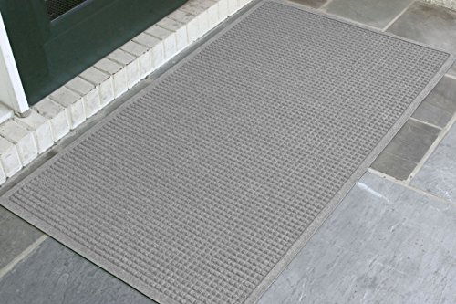 WaterHog Fashion Commercial-Grade Entrance Mat, Indoor/Outdoor Charcoal Floor Mat 5' Length x 3' Width, Medium Grey by M+A - Floor Dark Grey Mat