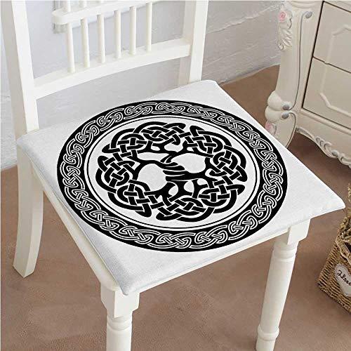 "Mikihome Squared Seat Cushion Native Celtic Tree of Life Figure Ireland Early Renaissance Artsy Medallion Design Black Garden Patio Home Kitchen Office Sofa Seat Pad 26""x26""x2pcs"